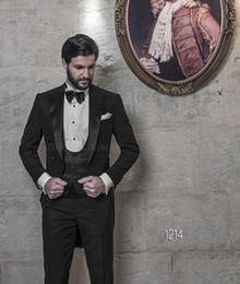 Wholesale Double Bow Back Dress - New Design Back Vent Peaked Lapel Black Tailcoat Haut Groom Tuxedos Men's Wedding Dress Prom Clothing(Jacket+pants+Bows tie+Vest) NO 541