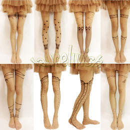 Wholesale Cute Women Nudes - Cute Trendy Sexy Mock Fake Tattoo Pattern Pantyhose Tights Stockings Nude