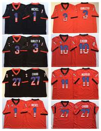 Wholesale flag football jerseys - 1 Michel Georgia Bulldogs Black Red 3 Gurley II 10 Eason 27 Chubb 11 Lambert College Football Jersey Men Flag Jerseys