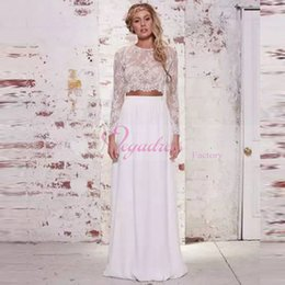 Wholesale Photo Cropping - 2017 Bohemian Two Pieces Crop Top Beach Wedding Dresses Long Sleeve Chiffon Ruched Floor Length Wedding Gowns Lace Wedding Dress Real Photo