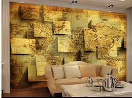 Wholesale Roll Chart - Papel de parede 3D World Map charts TV backdrop non-woven wallpaper customize size Free fast shipping 5207y