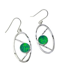 Wholesale Handmade Earrings Designs - Luxury Opal Silver Jewelry Earrings with Unique design for Elegant ladies 5 Colors with High Quality Pure handmade Oval shape Earrings