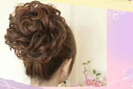 Wholesale beautiful drawings - women hair Wig contract Curly hair The large fluffy and messy beautiful Head Draw rope buckle type curls 4 color hair accessories