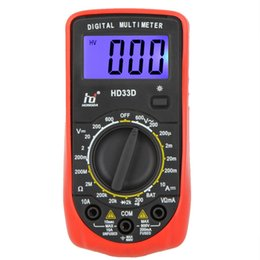 Wholesale Mini Ohmmeter - HD Mini Digital Multimeter DMM Ammeter Multitester Voltmeter Ohmmeter w LCD Backlight & Battery Test Multimetro HD33D,dandys