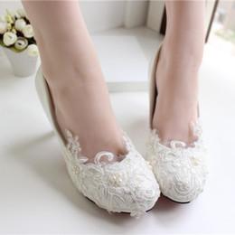 Wholesale Cheap Custom Heels - White Lace Wedding Shoes Kitten Heel Handmade 2015 Bridal Shoes Cheap Custom Made Heel Height Women Shoes for Wedding Bridesmaid Shoes