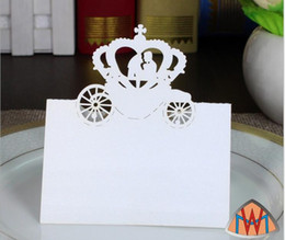 Wholesale Laser Cut Place Cards - 200pcs Laser Cut Hollow Crown Car Paper Table Card Number Name Card For Party Wedding Place Card Decorate