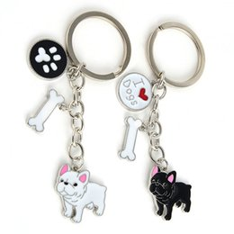 Wholesale Wholesale Metal Trinket - Key Rings French Bulldog Pendant Key Chains For Women Men Girls Silver Color Metal Pet Dog Car Keychain Key Ring Bag Charm Keyring Trinket