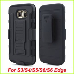 Wholesale wallet phone s4 - For Samsung Galaxy S6 Edge S6 S5 S4 S3 Future Armor Impact Hybrid Hard Case+Belt Clip Holster Kickstand Combo Shockproof phone cases cover