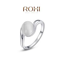 ROXI 2014 Livraison Gratuite Cadeau Platine Plaqué Romantique Ellipse Opale Anneau Déclaration Anneaux De Mode Bijoux Pour Femmes Fête De Mariage ? partir de fabricateur