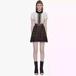 Wholesale Short Midi Dress Cotton - High-end custom self portrait black white lace sexy women midi Dress 2016 spring runway designer dress autumn casual dress