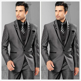 Wholesale Black Peak Tuxedo - 2018 New High Quality Grey Groom Tuxedos Peak Lapel Three Pieces Groomsmen Mens Wedding Dresses Prom Suits (Jacket+Pants+Vest)
