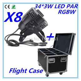 Wholesale Led Par Light 54 - Wholesale-8pcs   54 * 3W RGBW LED PAR +Flight Case DMX control par led+ Air box Discos lights of professional DJ equipment