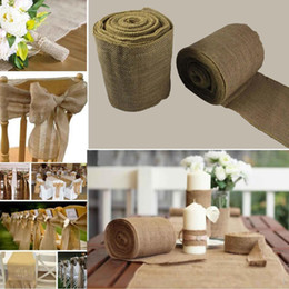 Wholesale Table Runner Rolls - 10 Meter Vintage Jute Roll Ribbon For Wedding Reception Table Centerpieces Party Decorations Chair Covers Bow Table Runner Supplies