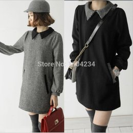 Wholesale Working Dress Fashion Korea - New Fashion Korea Preppy Style High Street Casual Women Dress Swallow Gird Turn Down Collar Slim Plus Size Vestidos Winter Dress