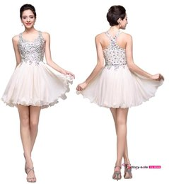 Wholesale Halter Sleeveless Short Mini Chiffon - New Arrival Sexy Blush Homecoming Dresses Halter Sparkly Beaded Crystals Backless Short Prom Cocktail Party Dresses BZP0757