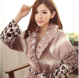 Wholesale Cute Sexy Pajamas For Women - Most popular 2016 New fashion winter thick cute sexy flannel pajamas female long-sleeved robe bathrobe robe for women