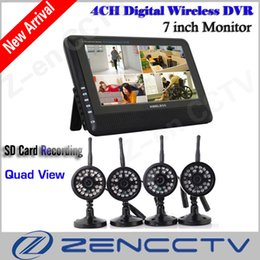 "Wholesale Longest Range Security Camera - DVR Security System Digital Wireless 7"" LCD Monitor SD Card Recording and 4 Long Range Night Vision CCTV Cameras Recorder"