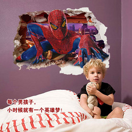 Autoadesivo dell'uomo del ragno 3d online-90x60CM Superman Spiderman 3D Wall Sticker per bambini Camere parete Adesivo casa decalcomanie decorazione della parete arredamento uomo