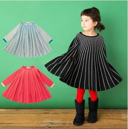 Wholesale Girls Red Striped Party Dress - Girls princess dress 2018 new Spring Children cotton stripe A-line dress Leisure kids long sleeve loose knitting party dress C2446