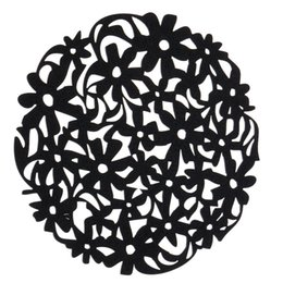 Wholesale Round Dinner Tables - Wholesale- Round Laser Cut Flower Felt Placemats Kitchen Dinner Table Cup Mats Cushion Black