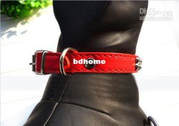 Wholesale Genuine Leather Dog Collars - Wholesale - 4 colors free shipping Bone soft genuine leather dog collar
