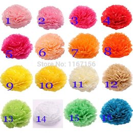 Wholesale Tissue Paper Pompom Flowers - Wedding Tissue Paper Pompoms 26 Colors Free Shipping 20pcs (10cm) 4 Inch Paper Flower Balls Event & Party Supplies