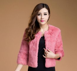 Wholesale Double Breasted Rabbit Coat - 2016 New Fashion Full Pelt Rabbit Fur Three Quarter Sleeve Women Coat Outwear Short Style Round Collar Delicate Coat for Ladies
