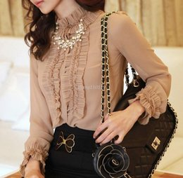 Wholesale Korean Xxl - women's new korean style elegant long sleeve blouse ruched ruffles stand collar cuff trimminig lace good quality OL shirt S-XXL