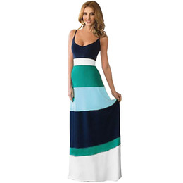 Wholesale Striped Tank Top Dress - Women Casual Silky Colorful Striped Maxi Dresses Long Camisole Tank Top Camis Dress Bohemian Style Kleider Robe Femme Vestidos Costume