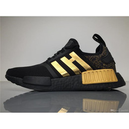 Wholesale Top Wholesalers Shoes - 2017Versace X NMD Running Shoes Originals NMDs BA7250 Outdoor Sneakers Black Gold Top Real Boost Sneakers Womens Boosts
