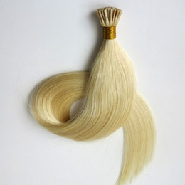 Wholesale Platinum Indian - Pre bonded brazilian hair I tip human hair extensions 50g 50Strands 18 20 22 24inch #60 Platinum Blonde Indian hair products