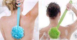 Wholesale Bathroom Shower Handles - Clean Shower Bath Brush Sponges Scrubbers Spa Long Handle Body Mesh Bath Ball Brushes Back Shower Puff Bathroom free shipping #6554