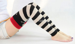 Wholesale Thick Red Wool Socks - Wholesale-Women Socks Halloween Winter Fashion Red Handknit Knee High Wool Socks Thick Warm Women Long Socks Cute Boots Socks121127-B