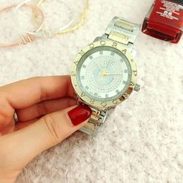 Wholesale Watch Crystal Glass - Fashion Pan Brand Women's Girls crystal style Stainless steel band Quartz wrist Watch P21
