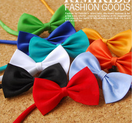 Wholesale Wholesale Cotton Clip Ties - Candy colors bow tie clip on bow tie for children's bow with neck strap 50pcs lot Free Shipping