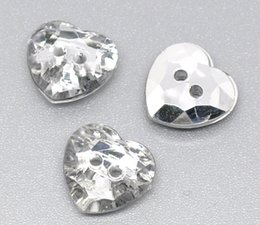 Wholesale Sewing Notions Tools - Pack Of 200pcs DIY Acrylic Buttons 2 Holes 12mm Fabulous Silver Hearts With Transparent Section For Sewing Notions & tools I14E