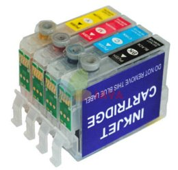 Wholesale Epson Cartridge Set - 6pcs set Refillable ink cartridge T0801 FOR epson STYLUS R265 R360 RX560 R285 R585 R685 with AUTO RESET CHIP free shipping
