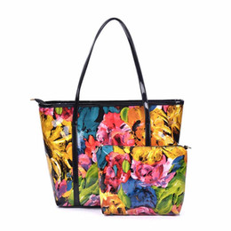 Wholesale Large Flower Paintings - new arrival fashion tote bag large capacity painting flower handbags 2 pcs set bag handbags and purses