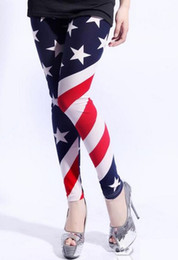 Wholesale Tight Silk Pants - free shipping new style Sexy milk silk Legging Pants American flag stars leggings tights socks yzs168