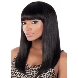 Wholesale Remy Hair Wigs Bangs - MONO Net Wigs FlowerSeason Straight Glueless Brazilian Full Lace Human Hair Wigs With Bangs Non-Remy Hair For Black Woman 130% -150% Density