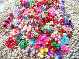 Wholesale Dog Products Accessories - New Mix Designs Rhinestone Pearls Style dog bows pet hair bows dog hair accessories grooming products Cute Gift 100pcs lot