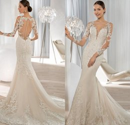 Wholesale Demetrios Mermaid Lace Wedding Dresses - Exquisite Long Sleeve Mermaid Wedding Dresses 2015 Lace Applique Sequined Covered Button Bridal Gowns Demetrios Bride Dress 2016
