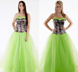 Wholesale Bud Light Dress - New Arrival Camo Bridesmaid Dresses Sweetheart Camouflage Print Ruffled Bud Green Tulle Dresses Evening Wear A-line Floor Length Party Dress
