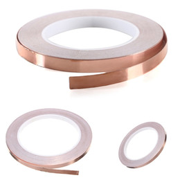Wholesale Copper Adhesive - Adhesive Single Face Electric Conduction Copper Foil Tape EMI Shielding Guitar Slug and Snail Barrier 6mmx20m order<$18no track