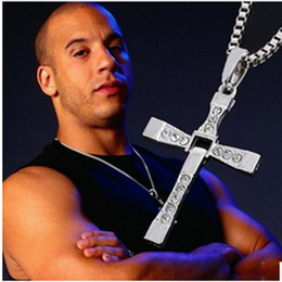 Wholesale Dominic Toretto Pendant - Alloy Diamond FAST and FURIOUS Dominic Toretto Cross Pendant Necklace With 60CM Chain Men's Crystal High Quality Gold Silver-Plated Necklace