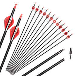 Wholesale Recurve Archery Bows - Archery Hunting Target Brazil Feathers Carbon 31-Inch Arrows with Field Points Replaceable Tips for Recurve Bow