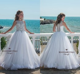 Wholesale Girls Sparkly Dresses - Sparkly White A Line Tulle Girls Pageant Dresses 2018 Sleeves Beaded Crystals Floor Length Sequins Flower Girl Dress for Party