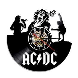Wholesale Antique Style Wall Lights - Rock Band ACDC Vinyl Record Wall Large Clock Home Decor Modern Design Decal Classic Art Sticker Led Night light Handmade Gift For Men