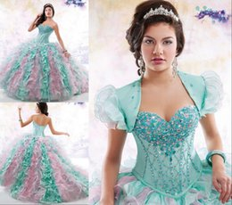 Wholesale Cascade Mix - 2016 Quinceanera Dresses Mint Pink Mix Colors Formal Girl's Pageant Prom Dress Ruffles Beaded Crystal Princess Birthday Party Ball Gowns