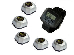 Wholesale call services - SINGCALL wireless waiter service calling system,for pub,video service,cinema, 5 buttons and one watch.